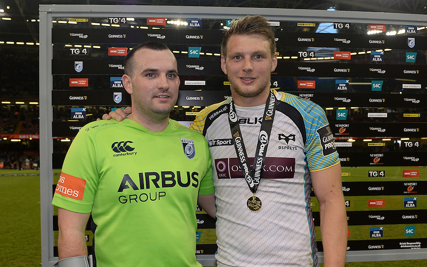 Ospreys' Dan Biggar receives his man of the match medal <br /> <br /> Photographer Ian Cook/CameraSport<br /> <br /> Rugby Union - Guinness PRO12 - Saturday 25th April 2015 - Cardiff Blues v Ospreys - Millennium Stadium - Cardiff<br /> <br /> &copy; CameraSport - 43 Linden Ave. Countesthorpe. Leicester. England. LE8 5PG - Tel: +44 (0) 116 277 4147 - admin@camerasport.com - www.camerasport.com