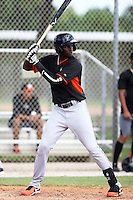 Miami Marlins outfielder Galvi Moscat #8 at bat during an Instructional League intramural game on September 30, 2014 at Roger Dean Complex in Jupiter, Florida.  (Stacy Jo Grant/Four Seam Images)