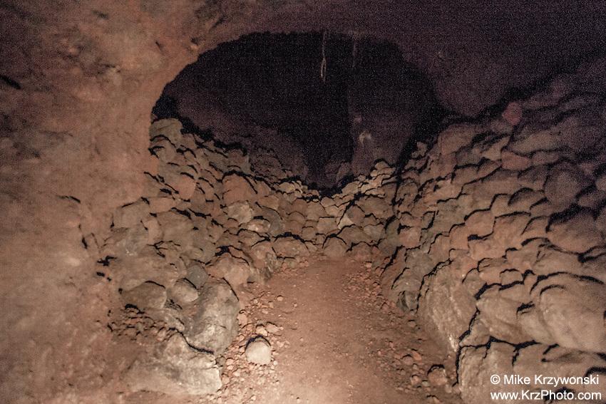 Stacked rock walls inside  Cave #3 along Old Mamalahoa Hwy., Big Island