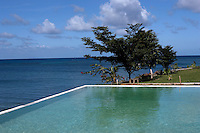 View of the Caribbean Sea from Rhodes Hall Plantation Resort pool in Negril, Jamaica. Photo by Errol Anderson.