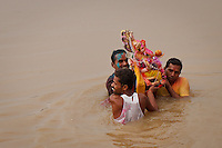 """Ganesh Chaturthi, An annual festival honours Ganesha for ten days. The festival begins with people bringing in clay idols of Ganesha, symbolising Ganesha's visit. The festival culminates on the day of Ananta Chaturdashi, when idols (murtis) of Ganesha are immersed in the most convenient body of water, while the people shout """"Ganapati Bappa Morya"""" (Ganesh come back soon next year). Some families have a tradition of immersion on the 3rd, 5th, or 7th day. On the 11th day, the statue is taken through the streets in a procession accompanied with dancing, singing, and fanfare to be immersed in a river or the sea symbolizing a ritual see-off of the Lord in his journey towards his abode in Kailash while taking away with him the misfortunes of his devotees"""