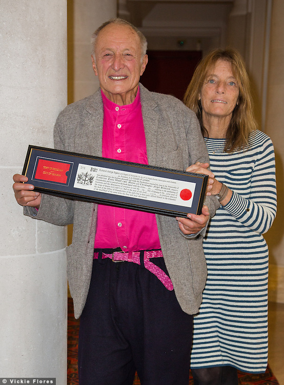 "Lord Richard Rogers accompanied by his wife Lady Ruth Rogers, receives the ""Freedom of the City of London"" on February 7th, 2014 at the Guildhall in London in recognition of his contribution to architecture and urbanism. Lord Rogers is a world famous architect of many buildings, including Centre Pompidou, the Millennium Dome and Lloyd's of London. He has recently called for a ""severe"" new tax on empty homes in London as a solution to wealthy buyers leaving homes vacant and contributing to the housing shortage."