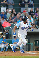Myrtle Beach Pelicans infielder Jeimer Candelario (24) at bat during a game against the Wilmington Blue Rocks at Ticketreturn.com Field at Pelicans Ballpark on April 09, 2015 in Myrtle Beach, South Carolina. Myrtle Beach defeated Wilmington 9-1. (Robert Gurganus/Four Seam Images)