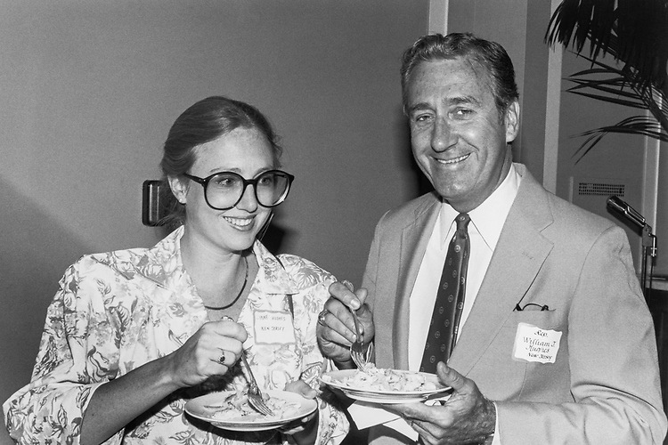 Rep. William J. Hughes, D-N.J. having dinner with his daughter, Lynne Hughes. (Photo by CQ Roll Call)