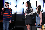 "Jake Ryan Flynn, Analise Scarpaci and Avery Sell from ""Mrs Doubtfire""  during the BroadwayCON 2020 First Look at the New York Hilton Midtown Hotel on January 24, 2020 in New York City."