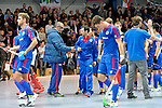 GER - Mannheim, Germany, December 12: Players of Mannheimer HC celebrate after winning the derby against TSV Mannheim on December 12, 2015 at Irma-Roechling-Halle in Mannheim, Germany. Final score 5-0 (HT 1-0). (Photo by Dirk Markgraf / www.265-images.com) *** Local caption ***