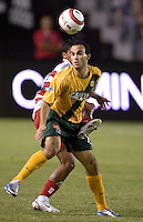 Los Angeles Galaxy's Landon Donovan fights for a ball at the US Open Cup, in the half at the Home Depot Center, in Carson, Calif., Wednesday, September 28, 2005. The Galaxy won 1-0.