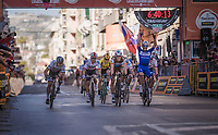 Julian ALAPHILIPPE (FRA/Deceuninck-Quick Step) wins the 110th Milano-Sanremo 2019 (ITA), by beating Oliver Naesen (BEL/AG2R-La Mondiale) & Michał Kwiatkowski (POL/SKY) in the sprint<br /> <br /> One day race from Milano to Sanremo (291km)<br /> <br /> ©kramon
