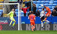 Bolton Wanderers' Andrew Taylor competing with Millwall's Lee Gregory who heads at goal late in the game<br /> <br /> Photographer Andrew Kearns/CameraSport<br /> <br /> The EFL Sky Bet Championship - Bolton Wanderers v Millwall - Saturday 9th March 2019 - University of Bolton Stadium - Bolton <br /> <br /> World Copyright © 2019 CameraSport. All rights reserved. 43 Linden Ave. Countesthorpe. Leicester. England. LE8 5PG - Tel: +44 (0) 116 277 4147 - admin@camerasport.com - www.camerasport.com