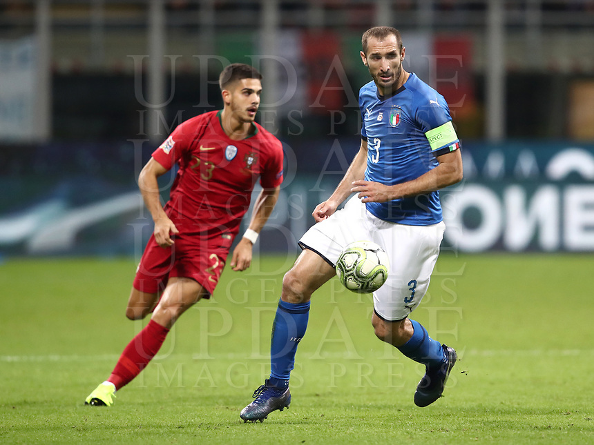Football: Uefa Nations League Group 3match Italy vs Portugal at Giuseppe Meazza (San Siro) stadium in Milan, on November 17, 2018.<br /> Italy's captain Giorgio Chiellini (r) in action with Portugal's Andr&eacute; Silva (l) during the Uefa Nations League match between Italy and Portugal at Giuseppe Meazza (San Siro) stadium in Milan, on November 17, 2018.<br /> UPDATE IMAGES PRESS/Isabella Bonotto