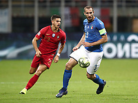 Football: Uefa Nations League Group 3match Italy vs Portugal at Giuseppe Meazza (San Siro) stadium in Milan, on November 17, 2018.<br /> Italy's captain Giorgio Chiellini (r) in action with Portugal's André Silva (l) during the Uefa Nations League match between Italy and Portugal at Giuseppe Meazza (San Siro) stadium in Milan, on November 17, 2018.<br /> UPDATE IMAGES PRESS/Isabella Bonotto