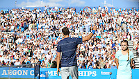 Grigor Dimitrov (Bulgaria) celerbates after his match versus James Ward (Great Britain) - Aegon Tennis Championships - 10/06/14 - MANDATORY CREDIT: Rob Newell - Self billing applies where appropriate - 07808 022 631 - robnew1168@aol.com - NO UNPAID USE - BACS details for payment: Rob Newell A/C 11891604 Sort Code 16-60-51