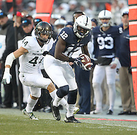 State College, PA - 11/26/2016:  WR Chris Godwin toes the sideline to catch a pass. #7 Penn State defeated Michigan State by a score of 45-12 to secure the Big Ten conference East Division championship on Senior Day, Saturday, November 26, 2016, at Beaver Stadium in State College, PA.<br /> <br /> Photos by Joe Rokita / JoeRokita.com