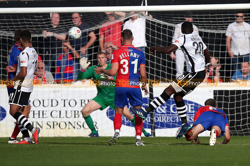Akil Wright of Wrexham goes close during Dagenham & Redbridge vs Wrexham, Vanarama National League Football at the Chigwell Construction Stadium on 13th October 2018