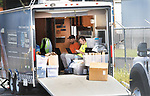 WATERBURY CT. - 08 August 2020-080820SV11-Crews work out of a mobile command center in the Eversource staging area on Freight Street in Waterbury Saturday.<br /> Steven Valenti Republican-American