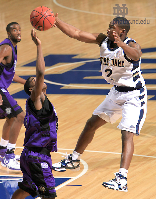 Dec. 19, 2006; South Bend, IN, USA; Portland Pilots guard (15) Brian McTear blocks a pass attempt by Tory Jackson in the first half at the Joyce Center.