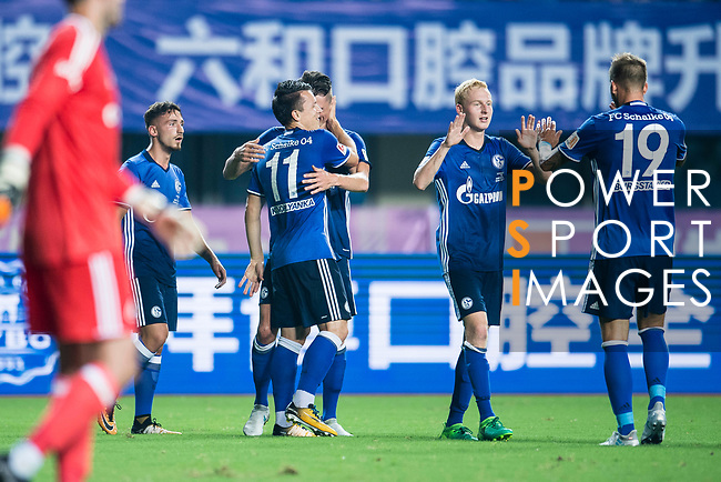FC Schalke Midfielder Yevhen Konoplyanka (L) celebrating his goal with his teammates during the Friendly Football Matches Summer 2017 between FC Schalke 04 Vs Besiktas Istanbul at Zhuhai Sport Center Stadium on July 19, 2017 in Zhuhai, China. Photo by Marcio Rodrigo Machado / Power Sport Images