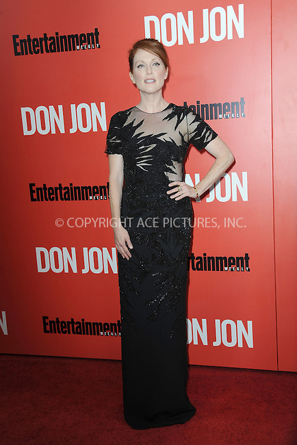 WWW.ACEPIXS.COM<br /> September 12, 2013...New York City<br /> <br /> Julianne Moore attending 'Don Jon' New York Premiere at SVA Theater on September 12, 2013 in New York City.<br /> <br /> Please byline: Kristin Callahan/Ace Pictures<br /> <br /> Ace Pictures, Inc: ..tel: (212) 243 8787 or (646) 769 0430..e-mail: info@acepixs.com..web: http://www.acepixs.com