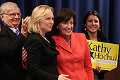 New York State Senator Kirsten Gillibrand stands with Democratic candidate Kathy Hochul during a rally at UAW Union Hall on May 21, 2011 in Amherst, New York.  Hochul is running for the House of Representatives, NY-26th, in a special election to replace disgraced former Congressman Christopher Lee who abruptly resigned after a sex scandal.  Photo By Mike Janes/Four Seam Images