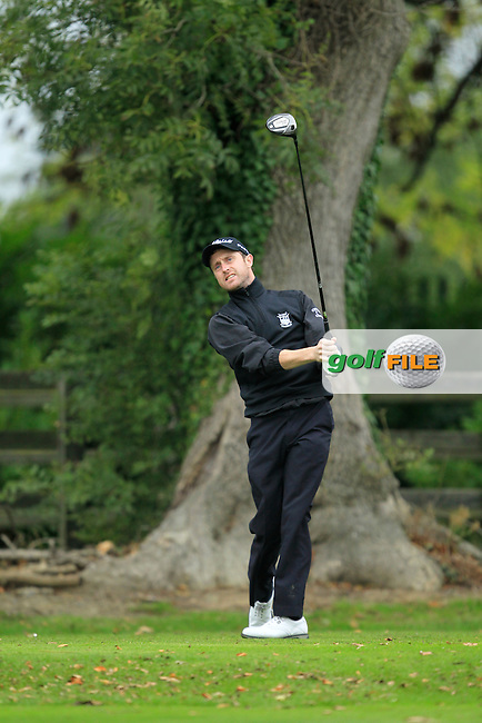 Daniel Sugrue (Killarney G.C) on the 1st tee during Round 3 of The Cassidy Golf 103rd Irish PGA Championship in Roganstown Golf Club on Saturday 12th October 2013.<br /> Picture:  Thos Caffrey / www.golffile.ie