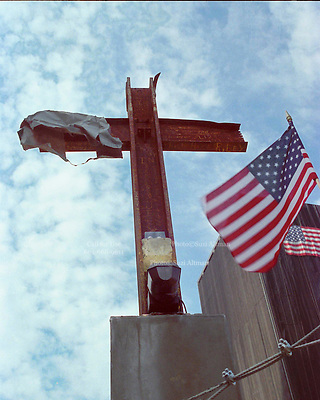 The Miracle Cross at Ground Zero in New York City. The Cross was formed when the buildings collapsed and found by rescue workers and erected on the site as a memorial to those who died in the attack on The World Trade Center.