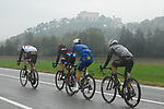 The early breakaway group Joey Rosskopf (USA) BMC Racing Team, Mikkel Frolich Honoré (DEN) Quick-Step Floors, Matteo Sobrero (ITA) Team Dimension Data and Filippo Ganna (ITA) UAE Team Emirates during the 102nd edition of GranPiemonte 2018, running 191km from Racconigi to Stupinigi, Piemonte, Italy. 11th October 2018.<br /> Picture: LaPresse/Fabio Ferrari   Cyclefile<br /> <br /> <br /> All photos usage must carry mandatory copyright credit (© Cyclefile   LaPresse/Fabio Ferrari)