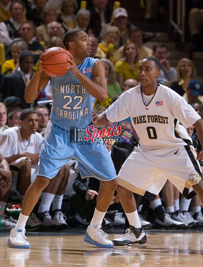 WINSTON-SALEM, NC - JANUARY 11:  Wayne Ellington #22 of the North Carolina Tar Heels looks to pass the ball while being guarded by Jeff teague #0 of the Wake Forest Demon Deacons at the LJVM Coliseum January 11, 2009 in Winston-Salem, North Carolina.  The Demon Deacons defeated the Tar Heels 92-89.  (Photo by Brian Westerholt / Sports On Film)