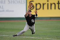 Bristol White Sox left fielder Jordan Keegan #1 makes a diving catch during game against the Elizabethton Twins at Joe O'Brien Field on July 19, 2011 in Elizabethton, Tennessee. Bristol won the game 18-4.   (Tony Farlow/Four Seam Images)