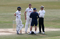 Injury concern for Matt Quinn of Essex after he is struck on the helmet during Essex CCC vs Nottinghamshire CCC, Specsavers County Championship Division 1 Cricket at The Cloudfm County Ground on 23rd June 2018