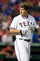 Texas Rangers second baseman Ian Kinsler #5 disagrees with a called third strike during the Major League Baseball game against the Texas Rangers at the Rangers Ballpark in Arlington, Texas on July 27, 2011. Minnesota defeated Texas 7-2.  (Andrew Woolley/Four Seam Images)