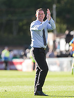 Derek Adams manager of Plymouth Argyle celebrates the teams victory during the Sky Bet League 2 match between Wycombe Wanderers and Plymouth Argyle at Adams Park, High Wycombe, England on 12 September 2015. Photo by Andy Rowland.