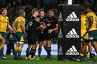 Joe Moody celebrates his try during the Bledisloe Cup and Rugby Championship rugby match between the New Zealand All Blacks and Australia Wallabies at Eden Park in Auckland, New Zealand on Saturday, 25 August 2018. Photo: Simon Watts / lintottphoto.co.nz