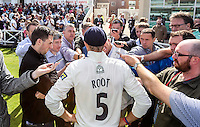 Picture by Alex Whitehead/SWpix.com - 12/09/2014 - Cricket - LV County Championship Div One - Nottinghamshire CCC v Yorkshire CCC, Day 4 - Trent Bridge, Nottingham, England - Yorkshire's Joe Root is interviewed by the media.
