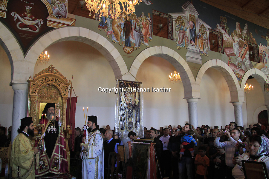 Israel, Jaffa, Greek Orthodox Patriarch Theophilus III at St. Michael's Church on the day of St. Michael