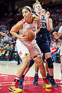 College Park, MD - DEC 29, 2016: Maryland Terrapins center Brionna Jones (42) pulls down one of thirteen rebounds during the game between No. 1 UConn and the No. 3 Terrapins at the XFINITY Center in College Park, MD. UConn defeated Maryland 87-81. (Photo by Phil Peters/Media Images International)