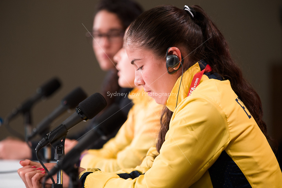 June 7, 2015: Ligia MOREIRA, captain of the Ecuador team at the prematch press conference ahead of a Group C match at the FIFA Women's World Cup Canada 2015 between Cameroon and Ecuador at BC Place Stadium on 8 June 2015 in Vancouver, Canada. Sydney Low/AsteriskImages