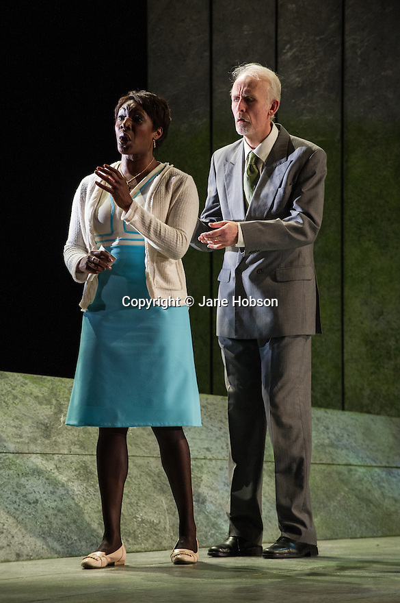 "London, UK. 06.03.2013. English Touring Opera presents SIMON BOCCANEGRA at the Hackney Empire, prior to touring it in rep with ""Cosi Fan Tutte"" and ""The Siege of Calais"".  Picture shows: Craig Smith (Simon Boccanegra) and Elizabeth Llewellyn (Amelia). Photo credit: Jane Hobson."
