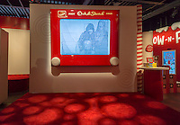 "A giant Etch-A-Sketch display in the Target ""Wonderland!"" pop-up store in the Meatpacking District in New York on its grand opening day, Wednesday, December 9, 2015. According to Target the store combines physical and digital shopping using medallions given to visitors with an embedded RFID chip. Tapping the chip to an antenna near the product lets you order it. The store is an experiment in technology replacing shopping carts with chips.  (© Richard B. Levine)"