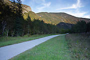 Franconia Notch State Park from along the Franconia Bike Path in the White Mountains, New Hampshire.