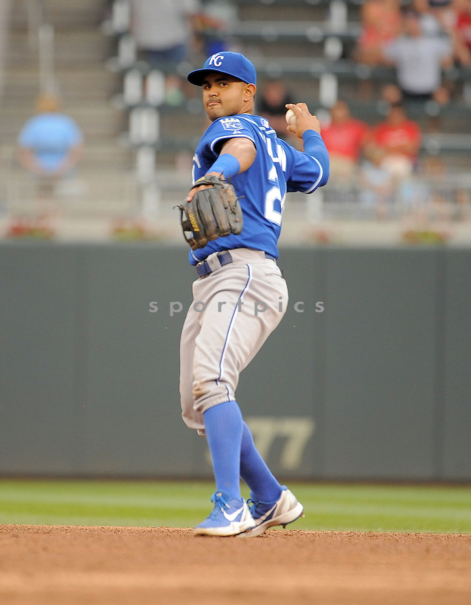 Kansas City Royals Christian Colon (24) during a game against the Minnesota Twins on August 17, 2014 at Target Field in Minneapolis, MN. The Royals beat the Twins 12-6.