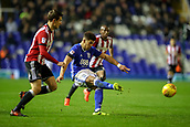1st November 2017, St. Andrews Stadium, Birmingham, England; EFL Championship football, Birmingham City versus Brentford; Che Adams of Birmingham City with a good strike on goal