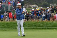 Tommy Fleetwood (ENG) after sinking his putt on 6 during round 2 of the 2019 US Open, Pebble Beach Golf Links, Monterrey, California, USA. 6/14/2019.<br /> Picture: Golffile | Ken Murray<br /> <br /> All photo usage must carry mandatory copyright credit (© Golffile | Ken Murray)