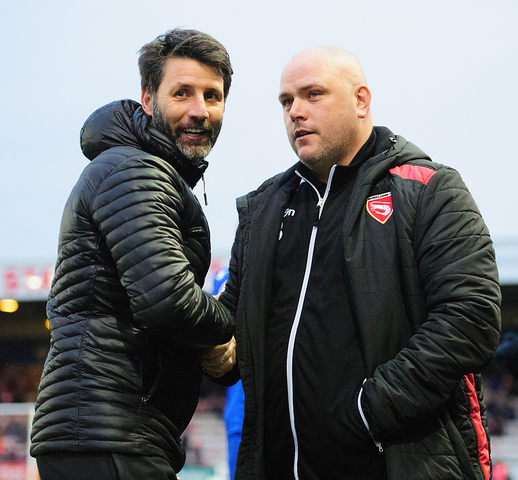 Lincoln City manager Danny Cowley, left, and Morecambe manager Jim Bentley prior to the game<br /> <br /> Photographer Chris Vaughan/CameraSport<br /> <br /> The EFL Sky Bet League Two - Saturday 15th December 2018 - Lincoln City v Morecambe - Sincil Bank - Lincoln<br /> <br /> World Copyright © 2018 CameraSport. All rights reserved. 43 Linden Ave. Countesthorpe. Leicester. England. LE8 5PG - Tel: +44 (0) 116 277 4147 - admin@camerasport.com - www.camerasport.com