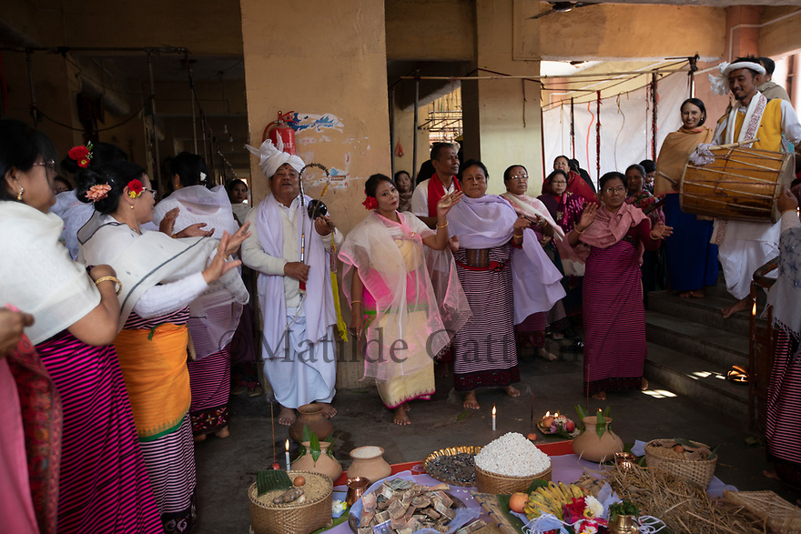 India - Manipur - Imphal - Vendors and musicians sing and dance inside the Ima Market to honour the statue of the gods who protect the market and its vendors.