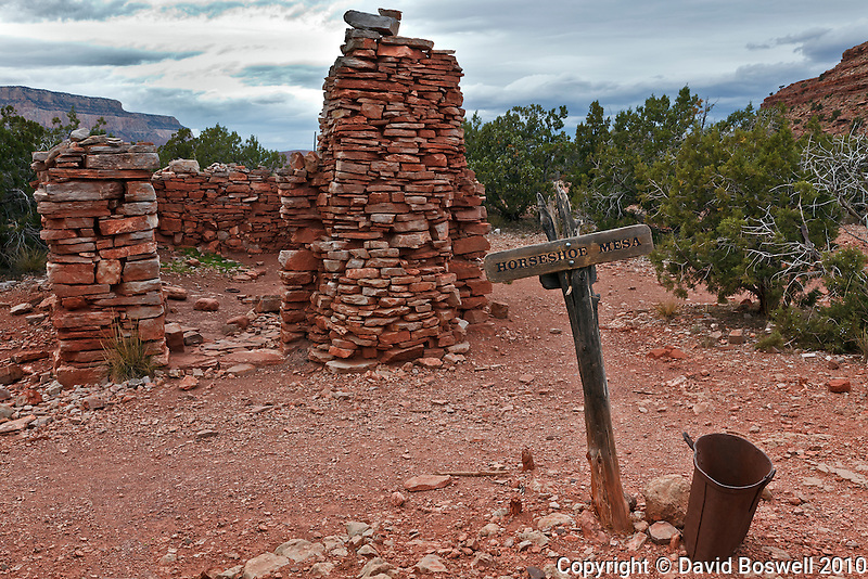 A ruined cookhouse is a remnant of the Last Chance Mine on Horseshoe Mesa in Grand Canyon National Park.