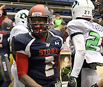 SIOUX FALLS, SD - FEBRUARY 21:  Chris Dixon #2 from the Sioux Falls Storm celebrates a touchdown past Darnell Terrell #21 from the Nebraska Danger in the first quarter of their game Friday night at the Sioux Falls Arena. (Photo by Dave Eggen/Inertia)