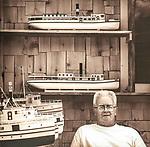 Vintage scan from print. Ship Shape, Peter Templeton, model boat builder, .Greenville, ME. Shop and models. 2011.