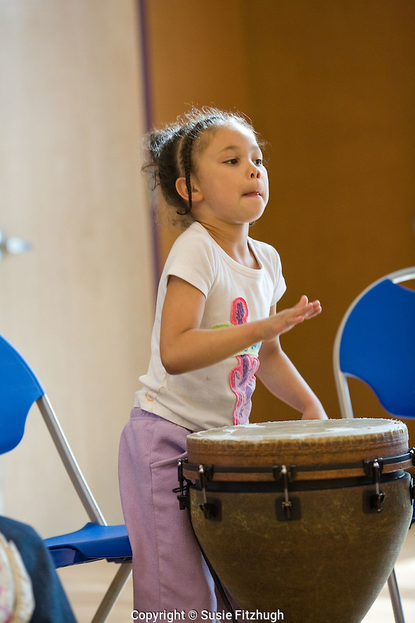 Bob Frazier's drumming class at Van Asselt Community Center in South Seattle, By the end of this class, students will have learned African and Pan-African styles of drumming, as well as African dances steps, poly-rhythms and rhythmic subdivisions.