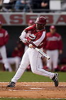 DeAngelo Mack (17) of the South Carolina Gamecocks makes contact at Sarge Frye Field in Columbia, SC, Sunday, February 24, 2008.
