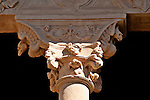 Fantastical gargoyles on the columns that ring the convent that was built in the early 16th century, as seen from the upper level balcony